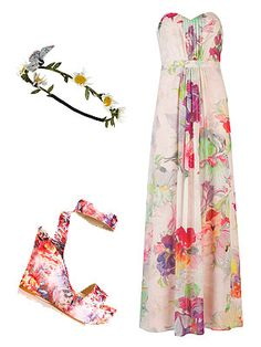 Take a leaf out of Miranda Kerr's book and pair a floral maxi with wedges for an elongated frame. A daisy garland will add a bohemian touch. Dress, £229, Ted BakerWedges, £40, Stylist PickHeadband, £5, Primark -Cosmopolitan.co.uk