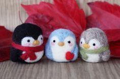 Needle felted penguin in black blue or gray by MySecretCravings