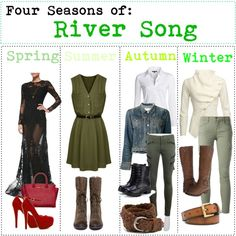 """Four Seasons of: River Song"" by fabfandomsfash on Polyvore"
