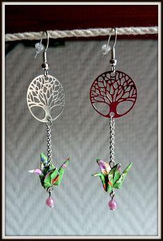 Boucles d'oreilles connecteurs arbre et grue Origami : Boucles d'oreille par japantouch