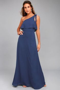#Lulus - #Lulus Purpose Navy Blue One-Shoulder Maxi Dress - AdoreWe.com