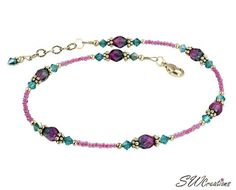 Handcrafted adjustable 11 - 11 1/2 inch beaded anklet created with fuchsia purple seed beads, blue zircon (teal) Swarovski Austrian crystals, Czech teal and fuchsia pink glass beads, Bali .925 silver,
