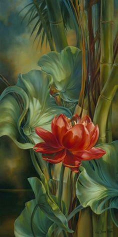 By artist Vie Dunn-Harr. Arte Floral, Tropical Art, Fine Art, Beautiful Paintings, Art World, Painting Inspiration, Flower Art, Peony Flower, Watercolor Paintings