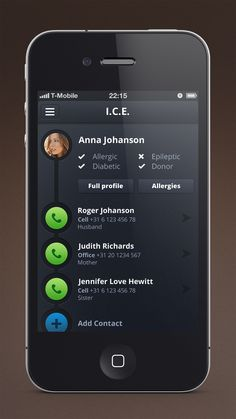 """ICE app by Tim de Groot - """"I've seen some I.C.E. apps out there and most of them are not really, really, ridiculously good looking. So I gave it a shot, as an exercise, just this one screen."""""""