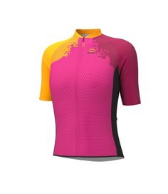 SHORT-SLEEVED CYCLING JERSEY SQUAD 2018 FUCHSIA X3 (WOMAN) Perfect for the summer, this short-sleeved cycling jersey quickly wicks away perspiration and keeps you nice and dry. A full-length zipper, an elastic waistband with silicone dots and a trim and LYCRA sleeve come together to provide an excellent fit. The jersey contains three open pockets. Since it is highly resistant to chafing, this garment is ideal for every type of cycling, especially mountain biking.