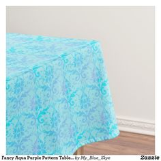 Shop Fancy Aqua Purple Pattern Tablecloth created by My_Blue_Skye. Blue Tablecloth, Tablecloth Sizes, Blue Skye, Wedding Tablecloths, Aqua, Teal, Green Theme, Purple Pattern, Wedding Supplies