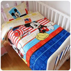 27.80$  Watch more here  - Promotion! 3PCS Kitty Mickey Baby Cot Baby Bedding Set Character Crib Cotton Bedcloth,Duvet Cover/Sheet/Pillow Cover,