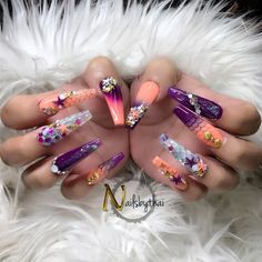 Try some of these designs and give your nails a quick makeover, gallery of unique nail art designs for any season. The best images and creative ideas for your nails. Acurlic Nails, Dope Nails, Get Nails, Bling Nails, Hair And Nails, Crazy Nail Designs, Ombre Nail Designs, Nail Art Designs, Fabulous Nails