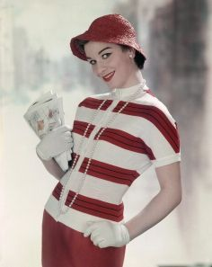 Red and white striped Vintage fashion. 1958 Might look great with our 1958 mint-green Vespa