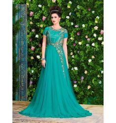 Gorgeous Designer Snowwhite Gown in Turquoise Color