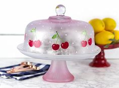 Cheery Cherry Domed Cake Plate -- Make a cheery cake plate covered in cherries!  #decoartprojects