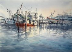 Fishing Boat (watercolor on paper) by Direk Kingnok   watercolor landscapes