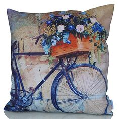 Sunburst Outdoor Living x (No Piping) ARTISTIC Vintage Bicycle Decorative Throw Pillow Cushion Cover for Couch, Bed, Sofa or Patio - Only Case, No Insert * You can find more details by visiting the image link. Decorative Throw Pillows, Decorative Items, Outdoor Cushion Covers, Cushion Cover Designs, Cushions Online, Interior Design Elements, Blue Cushions, Vintage Bicycles, Pillow Covers