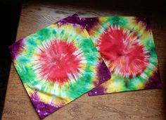 Tie Dye Throw Pillow Hand Done Original 14 x 14 inch size-matching Pair-C. Smale #none
