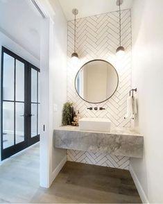 Powder Room Decor, Powder Room Design, Bathroom Design Small, Bathroom Interior Design, Dream Bathrooms, Amazing Bathrooms, White Bathrooms, Small Toilet Room, Modern Powder Rooms