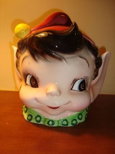 VINTAGE  ELF PIXIE HEAD HUGE EARS COOKIE JAR