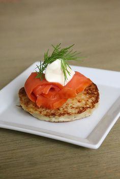 "Boxty, an Irish potato pancake that translates to ""poor-house bread,"" is like a cross between an American pancake and hashed browns. While it can be served at any meal, including dinner, I think American palates will appreciate it most for weekend brunch. Try topping it with smoked salmon, crème fraîche, and dill fronds to make it a complete meal."