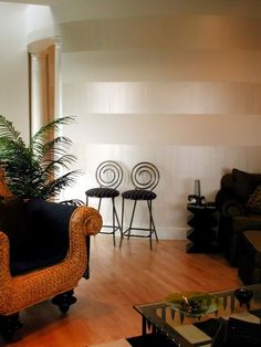 Stripes for living room accent wall::Horizontal Stripes with Pearl White Sheer Metallic Paint Decor, Beige Walls, Room, Interior, Living Room Paint, Painting Stripes On Walls, Home Decor, Interior Design, Striped Walls