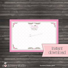 Princess Thank You Card Non Personalized Baby by stockberrystudio