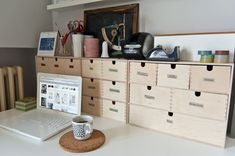 new desk setup (with Ikea MOPPE chests) | by celestefrittata