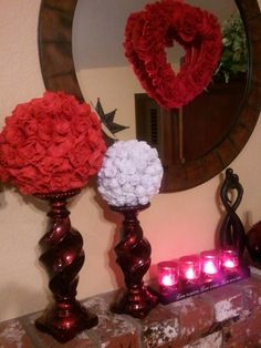 Valentine Mantle.... red tinted glass candle holders