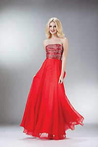 Jewels Gems Beading Long Strapless Fitted Flattering Prom Dress Beautiful Bodice | eBay
