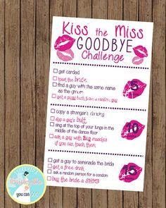 Kiss the Miss Goodbye Bachelorette Scavenger Hunt