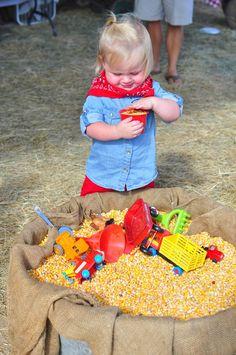 Farm theme birthday - entertainment - DIY corn tub for the kids to play in Farm Themed Party, Barnyard Party, Farm Party, Tractor Birthday, 1st Boy Birthday, 3rd Birthday Parties, Birthday Ideas, Happy Birthday, Farm Animal Party