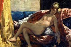 Reclining Odalisque or, Woman with a Parakeet, 1827 by Eugene Delacroix. Romanticism. nude painting (nu). Musée des Beaux-Arts, LyonФранцузский романтик Делакруа один из первых стал изучать это оптическое явление и положил начало новому пониманию колорита. В своем дневнике он рассказывает такой случай. Он долго бился над тем, как ему ярче изобразить желтый занавес, и решил пойти в Луврский музей поучиться у старых мастеров. На улице он подозвал кучера. Когда к нему подъехал экипаж…