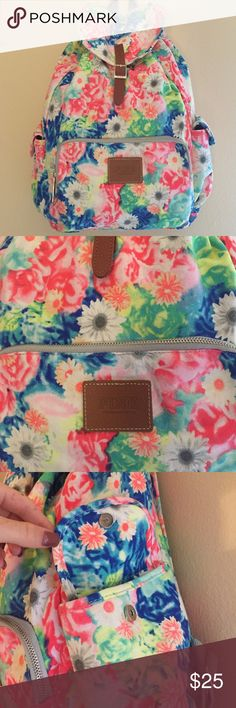 PINK floral Backpack Perfect for back to school! fits a lot of stuff and is super cute! It has adjustable straps, 2 side pockets, front zipper pouch, and draw string opening for the main compartment. ONLY USED ONCE PINK Victoria's Secret Other