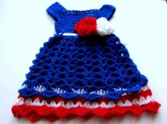 crochet baby dress blue red white  patriotic  4th by paintcrochet, $35.00