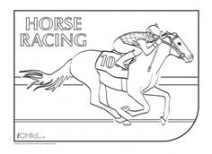 Your Child Can Enjoy Colouring In This Picture Of A Jockey Taking Part Horse