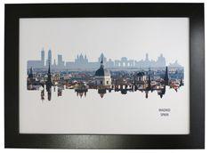 Madrid Spain Skyline Print with aerial city by DragonTreeStudio