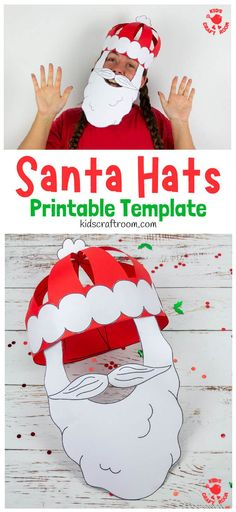 Try this fun Christmas craft! Make and wear a cute 3D Paper Santa Hat! This Christmas hat idea is great for fun loving kids and grown-ups! (Printable Santa Hat Craft Template) #kidscraftroom #kidscrafts #santa #santahat #papercrafts #christmascrafts #printablecrafts #santacrafts #christmashats