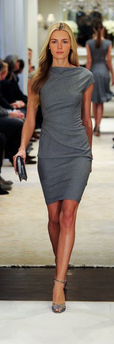 Ralph Lauren Pre-Fall 2014 RTW - silver-grey whool afternoon dress