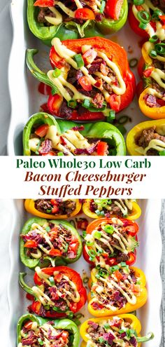 These low carb and paleo bacon cheeseburger stuffed peppers are so simple to make and crazy delicious! A savory beef and bacon mixture is baked in bell peppers and topped with the best dairy-free che Whole30 Dinner Recipes, Paleo Dinner, Paleo Recipes, Spinach Recipes, Paleo Whole 30, Whole 30 Recipes, Paleo Stuffed Peppers, Whole 30 Stuffed Peppers, Stuffed Zucchini