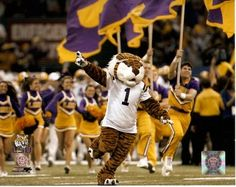 LSU Tigers mascot Mike the Tiger takes the field at Death Valley.