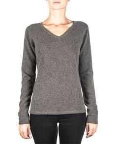 Damen Kaschmir Pullover V-Ausschnitt taupe melange front Elegant, Tops, Sweaters, Fashion, Cashmere Sweaters, Women's, Classy, Moda, Chic