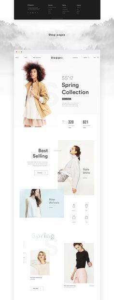 HOPPII Ecommerce UX/UI Concept on Behance Grid Web Design, Page Design, Blog Design, Ux Design, Website Layout, Web Layout, Layout Design, Fashion Web Design, Composition Design