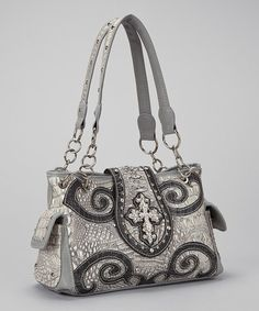 Love this Bone Crocodile Western Horseshoe Cross Handbag by Rhinestone Junkie on #zulily! #zulilyfinds