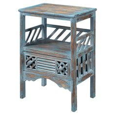 Showcase a colorful vignette or stack magazines on this weathered wood accent table, showcasing 1 drawer with louvered detailing.    ...