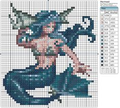 To be honest, I'd never heard of RPG Tsukuru before, but when I saw this gorgeous mermaid sprite I had to make it into a cross stitch pattern! She would look stunning if you tweeded metallic thread with normal when sewing her tail to give her an extra sparkle!
