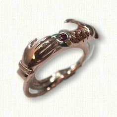Gimmel Ring set with ruby and heart shank - Available In All Metals and Sizes with any stones in center