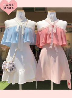 Self-made, order-by-order ♥ Coloring Thumb-off shoulder bl Kpop Fashion Outfits, Girls Fashion Clothes, Ulzzang Fashion, Korean Outfits, Fashion Dresses, Kawaii Fashion, Cute Fashion, Look Fashion, Girl Fashion