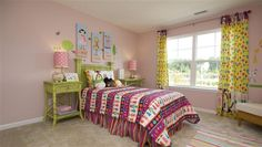Lively young girl or teen room with pink and green coloring.