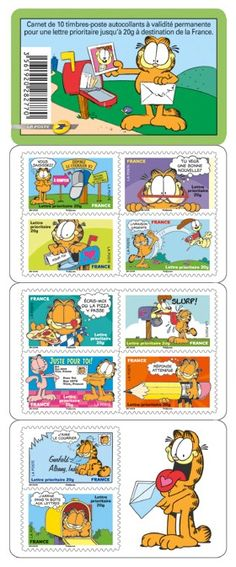 Garfield The Cat stamps from France. This ten-stamp booklet depicting Garfield the cat was released last October in France.