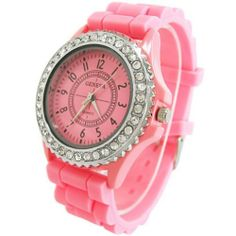 Pink Color Classic Gel Silicone Crystal Men Lady Jelly Watch Gifts Stylish Fashion Luxury Unknown. $4.89