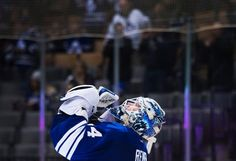 Toronto Maple Leafs goalie James Reimer (34) reacts after defeating the Vancouver Canucks during third period NHL hockey action in Toronto on Saturday, Nov. 14, 2015. (Nathan Denette/The Canadian Press via AP)