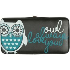Owl Love Hinge Wallet ($8.50) ❤ liked on Polyvore featuring bags, wallets, accessories, clutches, purses, women, owl print bags, fake bags, wet seal bags and owl wallet