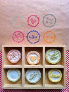 cooking labels rubber stamp set - scalloped circle stamps - hand carved rubber stamp - baking/cooking - wood box - set of 6